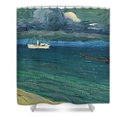 Wassily Kandinsky 1866 - 1944 Rapallo, Seascape With Steamer Shower Curtain