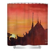 Wat Silhouette Shower Curtain