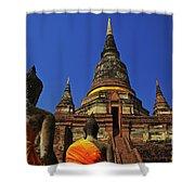 Wat Yai Chai Mongkol In Ayutthaya, Thailand Shower Curtain
