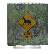 Watch For Horses Shower Curtain