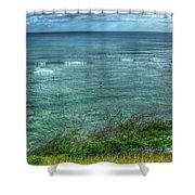 Watching From Afar Kuilei Cliffs Beach Park Surfing Hawaii Collection Art Shower Curtain