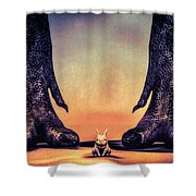 Watch Out Little Bunny Shower Curtain by Bob Orsillo