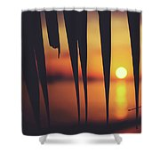Watching Beautiful Caribbean Sunset From A Simple Beach Shack Shower Curtain