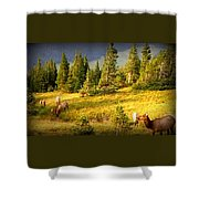 Watching Elk Iv Shower Curtain