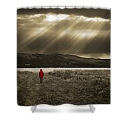 Watching In Red Shower Curtain by Meirion Matthias