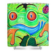 Watching You Red Eyed Tree Frog Shower Curtain by Nick Gustafson