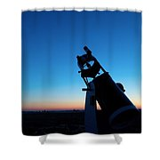 Watchnig The Sky, Astronomy Telescope Against Evening Sky And Moon Shower Curtain