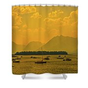 Water And Fire At Leeks Marina Shower Curtain