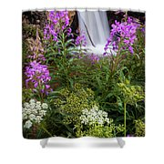 Water And Flowers Shower Curtain