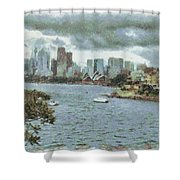 Water And Skyline Shower Curtain