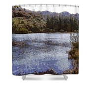 Water Body Surrounded By Greenery Shower Curtain