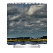 Water, Clouds And Sun. Shower Curtain