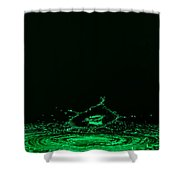 Water Collision Green Shower Curtain