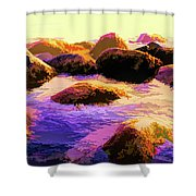 Water Color Like Rocks In Ocean At Sunset Shower Curtain