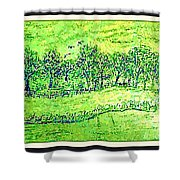 Water Color Of Apple Orchard Farm Shower Curtain