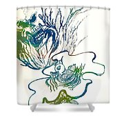 Water Color Poster Of Good And Evil Shower Curtain