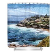 Water Cove With Rocky Cliffs Shower Curtain