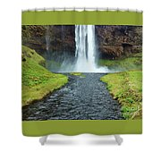 Water Falling In Iceland Shower Curtain