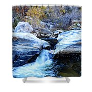 Water Flowing Through Rock Formation In Sabino Canyon II Shower Curtain