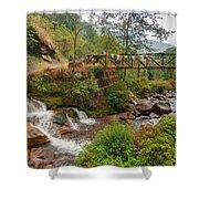 Water Flowing Through Rocks Kukhola Falls Sikkim Shower Curtain