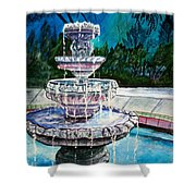 Water Fountain Acrylic Painting Art Print Shower Curtain