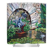 Water Fountain Shower Curtain by Milagros Palmieri