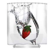 Water Glass Strawberry Shower Curtain