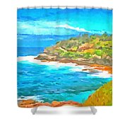 Water Gushing In On A Natural Cove Shower Curtain