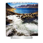 Water In Iceland - Beautiful West Fjords Shower Curtain