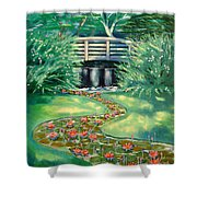 Water Lilies Bridge Shower Curtain