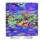 water lilies In twilight Shower Curtain