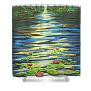 Water Lillies At Dusk Shower Curtain
