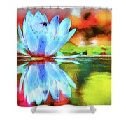 Water Lily And Bee Pastel Shower Curtain