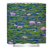Water Lily Flowers Happy Water Lilies Fine Art Prints Giclee High Quality Impressive Color Lotuses Shower Curtain