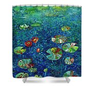 Water Lily Lotus Lily Pads Paintings Shower Curtain