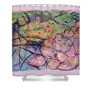 Water Lily Monotype Shower Curtain