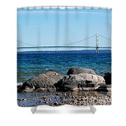 Water Line Sky Line Shower Curtain