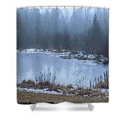 Water On Ice In Fog Shower Curtain