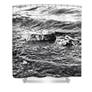 water over rock BW Shower Curtain