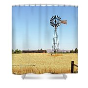 Water Pump Windmill At Wheat Farm In Rural Oregon Shower Curtain