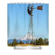 Water Pump Windmill In Central Oregon Farm Shower Curtain