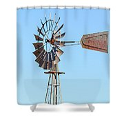 Water Pump Windmill On Blue Sky Background Shower Curtain