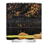 Water Reflections In Autumn Shower Curtain