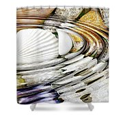 Water Ripples Above Sea Shells Shower Curtain