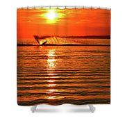 Water Skiing At Sunrise  Shower Curtain