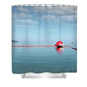 Water Slide Seascape Summer Vacation Scene Shower Curtain