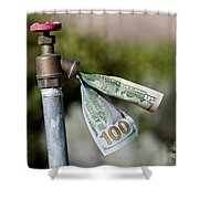Water Spigot With Money Flowing Out Shower Curtain
