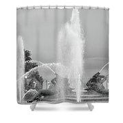 Water Spray - Swann Fountain - Philadelphia In Black And White Shower Curtain
