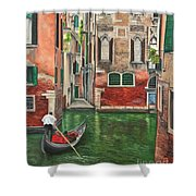Water Taxi On Venice Side Canal Shower Curtain