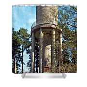 Water Tower In Malmi Cemetery Shower Curtain